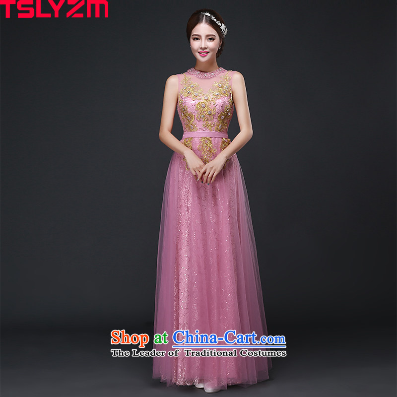 Tslyzm evening dress long bride pink drink dress shoulders bridesmaid to serve the new 2015 lace autumn and winter bare pink?M