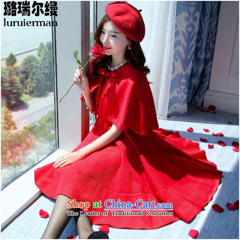 Xu Jialu riels bows as service pack stylish winter bride gross? dresses two kits large red door onto the autumn dress skirt FSSD1507 female M Red