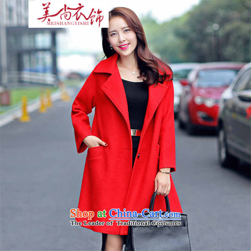 The United States is still clothing gross autumn and winter coats? female new a wool coat large red bride back to door onto large pregnant women loose white shirt?S