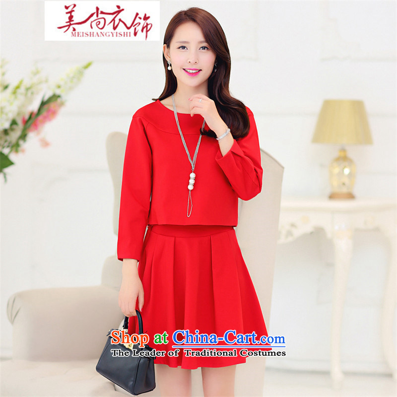 The United States is still clothing autumn large red bridesmaid marriages betrothal short, bows to the lift mast to dress two-piece set with skirt female gray?S