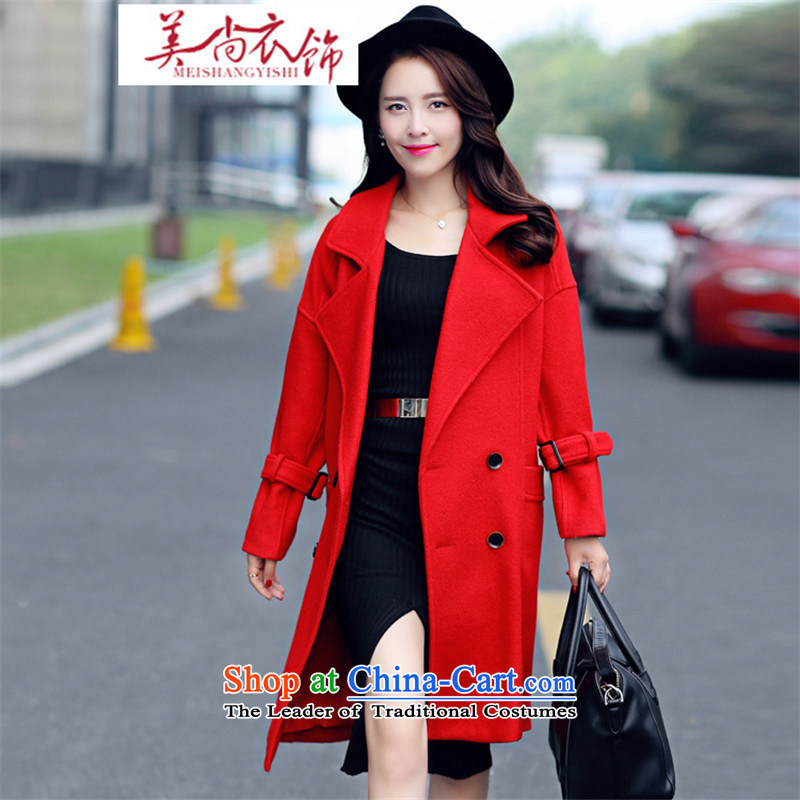 The United States is still clothing 2015 large red marriages thick MM loose back door toasting champagne large dress Double Row port wool coat female red XL?
