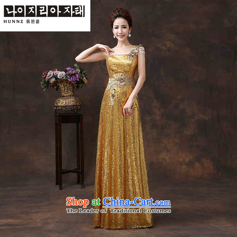 ? ?Toasting Champagne Services 2015 new HANNIZI Stylish spring and summer shoulder pure color long bride wedding dress bows to gold?XL