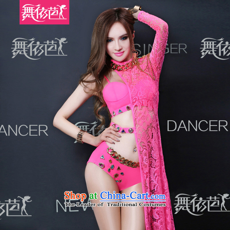 In accordance with the hip new dance western bar ds dance performances to night sexy lace female singer dj performance stage costumes of red?S?small code
