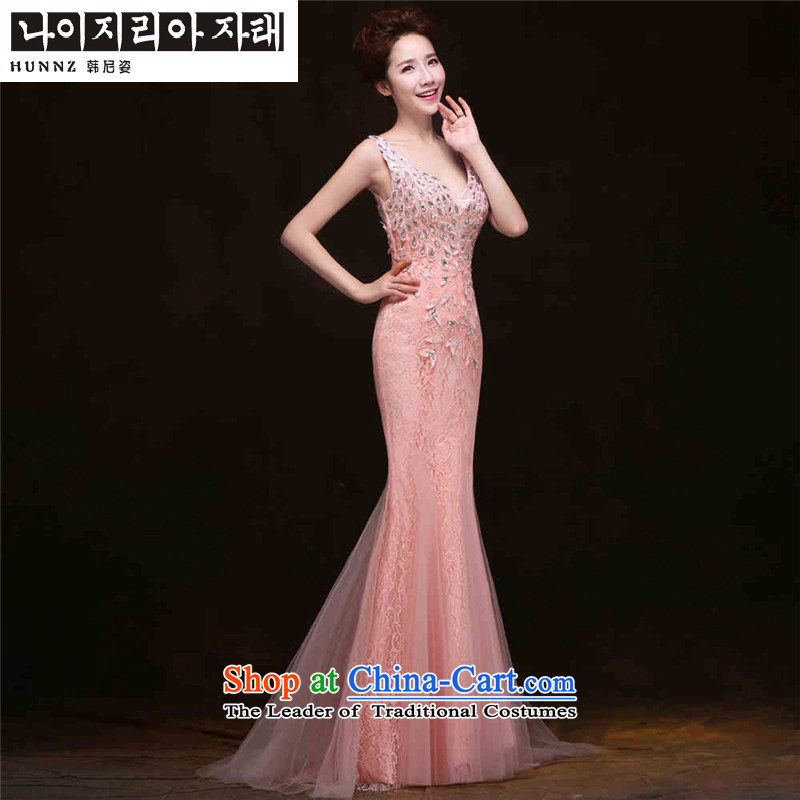 The spring and summer of 2015 New HANNIZI) Bride wedding dress evening dress Korean anointed chest crowsfoot sleeveless pink?XL