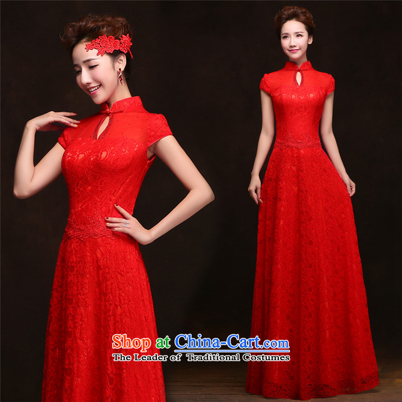 The spring and summer of 2015 Korea HANNIZI-long short-sleeved bride wedding dress banquet dinner dress uniform red�XXL toasting champagne