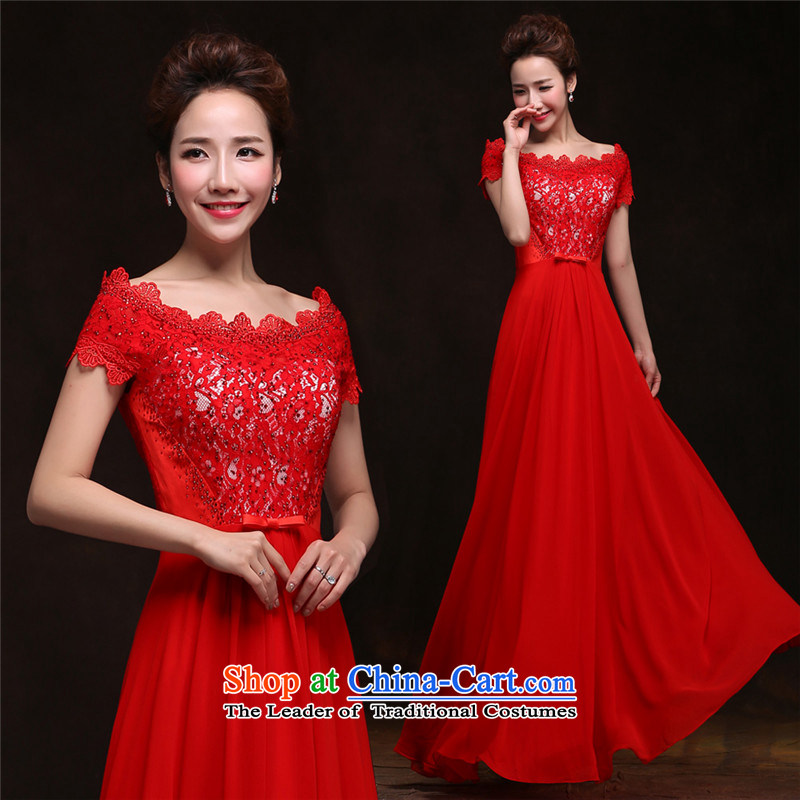 Hannizi       bride wedding dress 2015 new stylish slotted shoulder length_ bows to dress red S