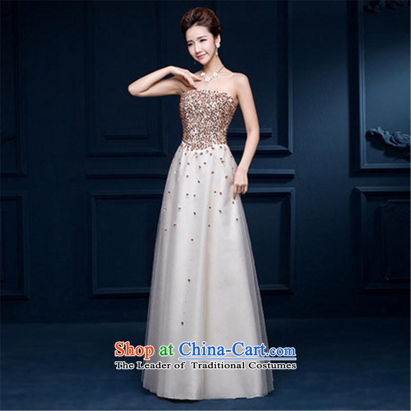 Hannizi      ?Korean Style New bows services 2015 anointed chest long sleeveless strap bride wedding dress champagne color?XL