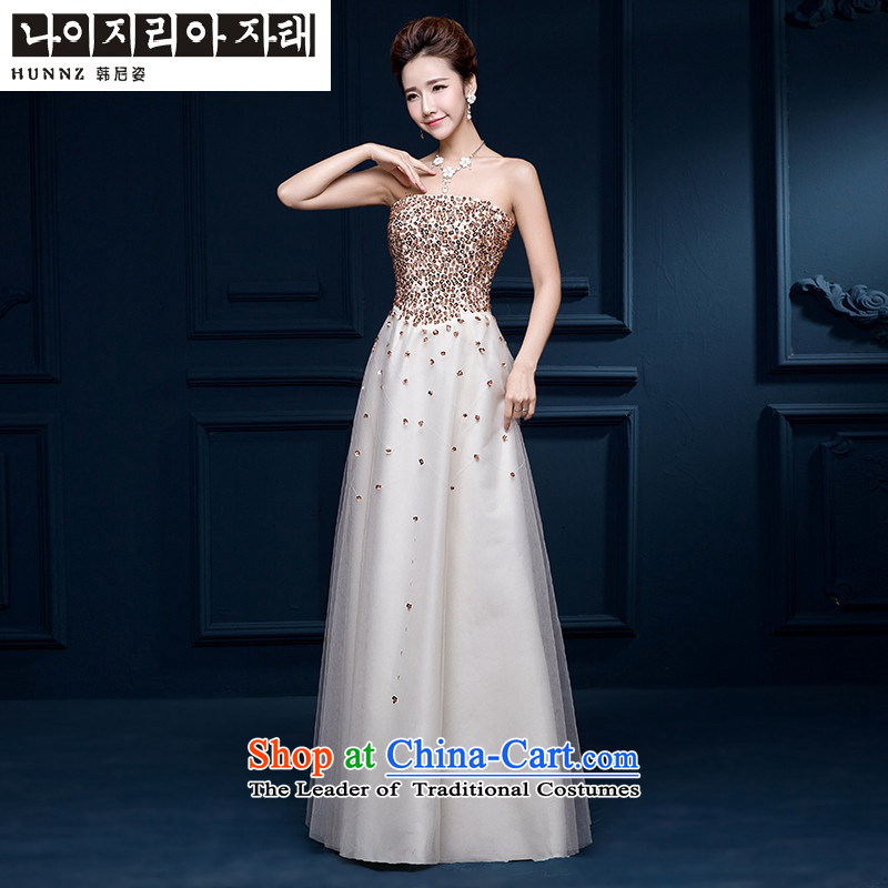 Hannizi       Korean Style New bows services 2015 anointed chest long sleeveless strap bride wedding dress champagne color XL, Korea, Gigi Lai (hannizi) , , , shopping on the Internet