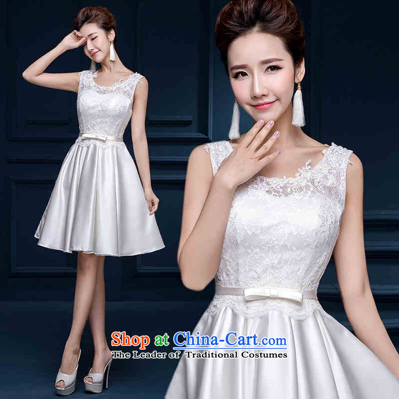 The new 2015 HANNIZI spring and summer Korean word shoulder wedding dress bride, short white dress White XXL