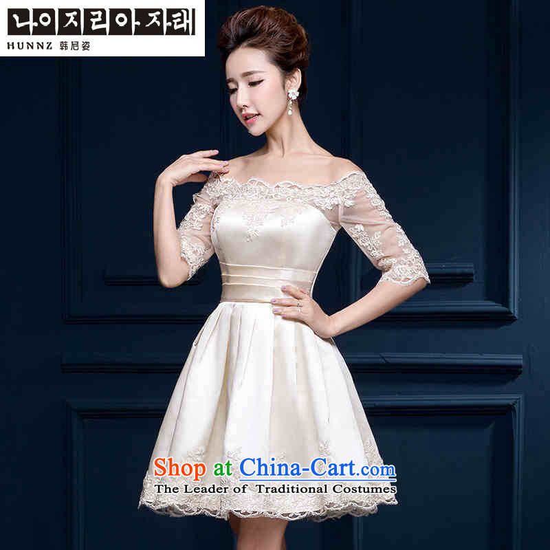 In spring and summer 2015 HANNIZI cuff Korean word shoulder bride wedding dress evening dress uniform champagne color in the bows cuff?M