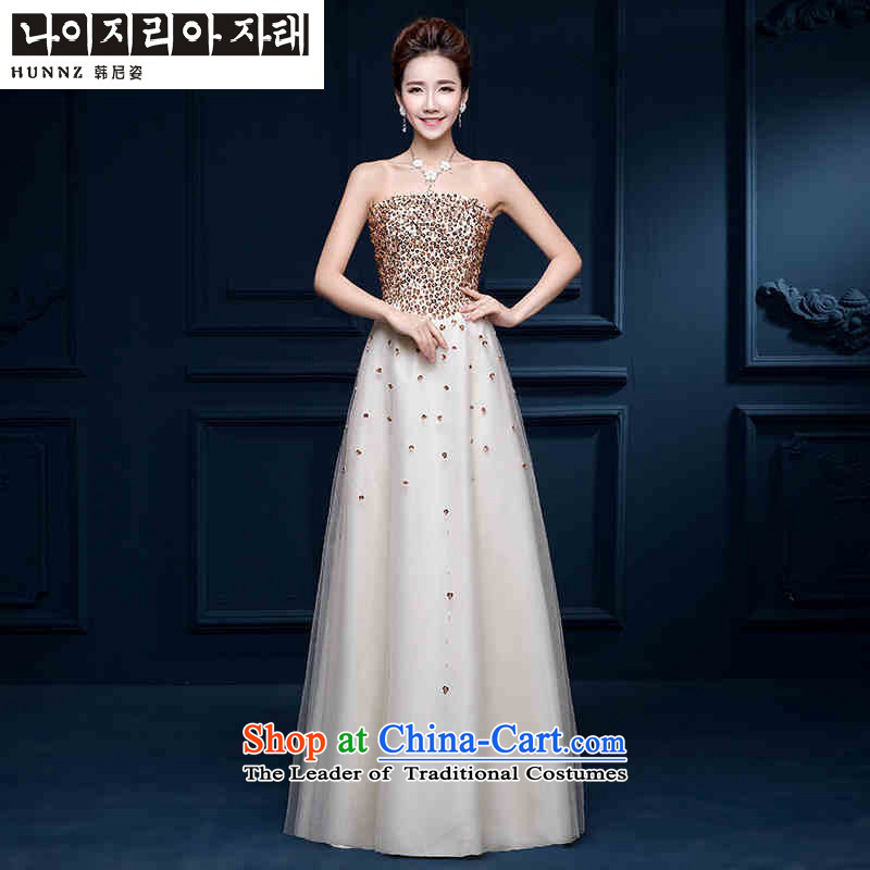 The spring and summer of 2015 New HANNIZI) Bride wedding dress sexy wiping the chest straps banquet dinner dress champagne color?XXL