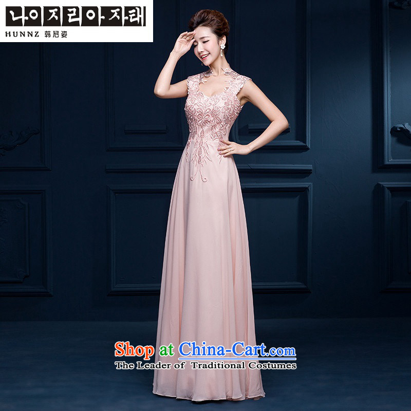 The spring and summer of 2015 New HANNIZI) Bride wedding dress and sexy a shoulder length field, banquet evening dresses Yuk-pink?S
