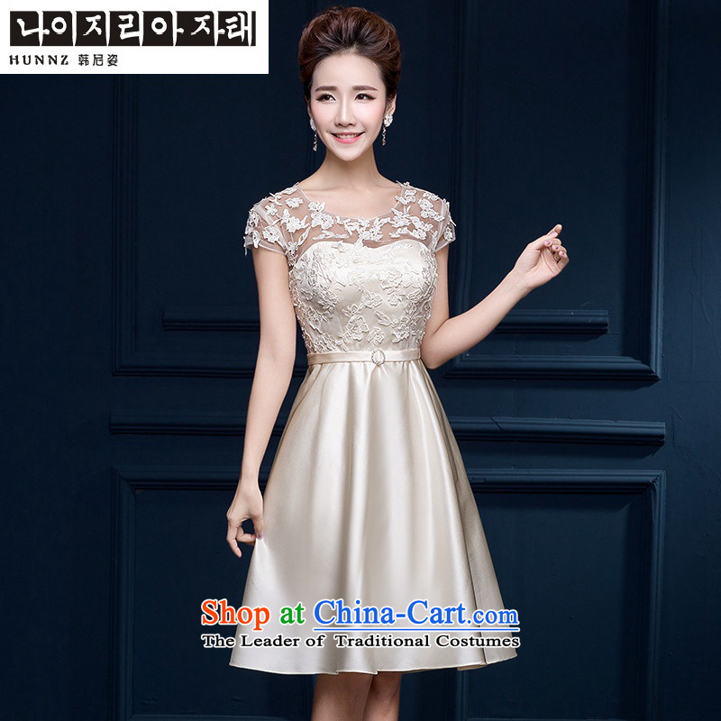 The spring and summer of 2015 New HANNIZI) bows service banquet Dress Short of Korean word shoulder bride dress champagne color?L
