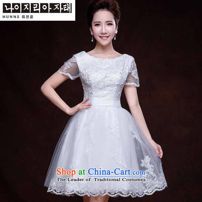 Toasting champagne served by 2015 HANNIZI Korean Style New spring and summer load a field of short white banquet shoulder evening dresses White?M