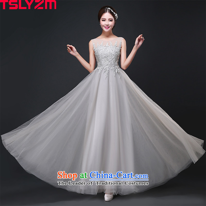 Tslyzm evening dresses of the persons chairing the annual meeting of the Korean dress lace round-neck collar shoulders 2015 Ms. new costumes and Smoke Gray?S