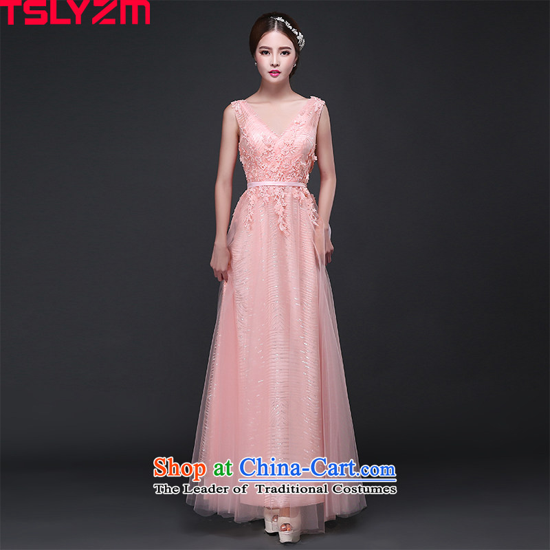 Tslyzm bridesmaid service long banquet dinner dress shoulders Korean brides pink drink service stylish new 2015 autumn and winter bare pink?XXL