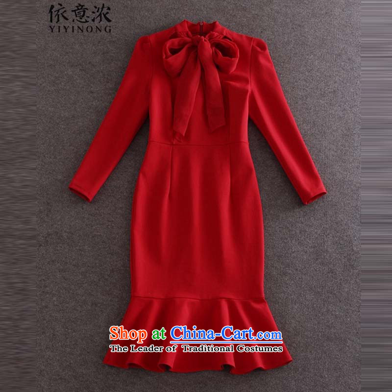In accordance with the intention the autumn 2015 load thick Bow Tie long-sleeved Sau San package and crowsfoot skirt dresses dress skirt red?S