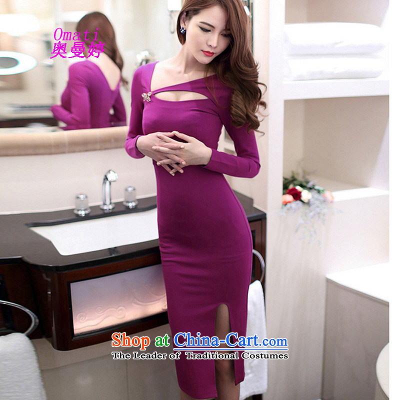 Aumain Ting 2015 Autumn load new dresses, Korean sexy beauty spent engraving a tick collar back dresses rose red?M