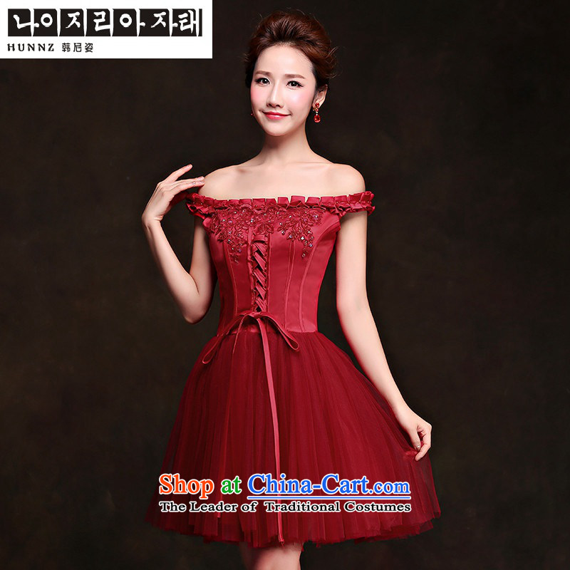 ?     ?Toasting champagne HANNIZI Services 2015 new Korean word shoulder, wine red banquet short evening dresses bride services wine red?XXL