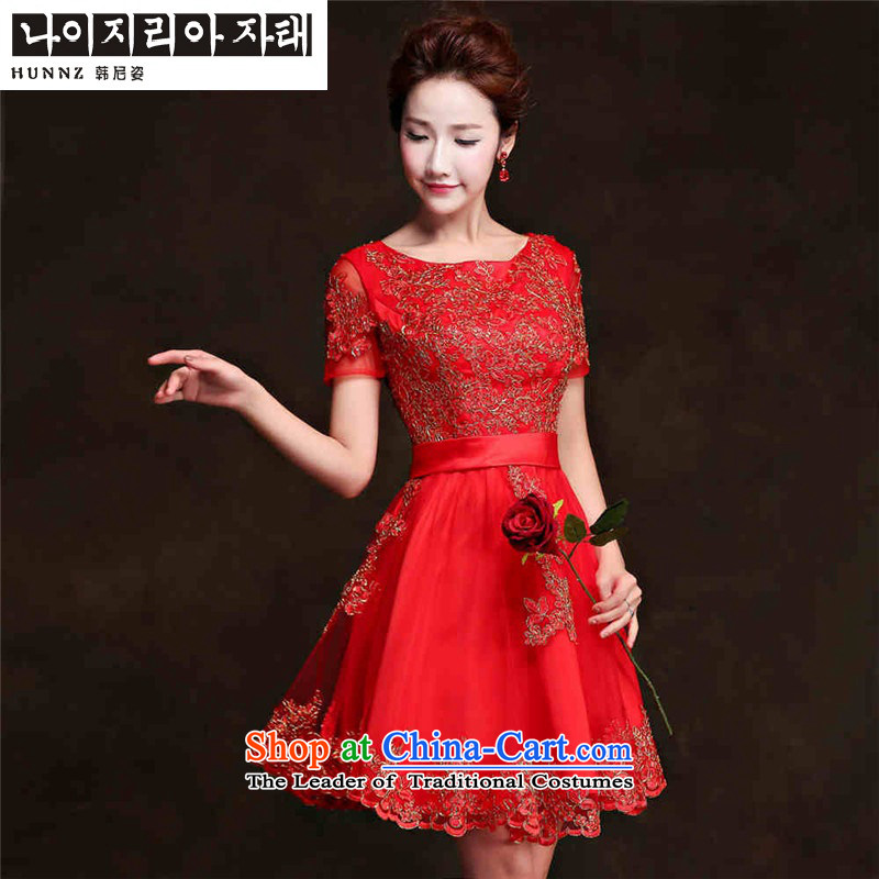 Hannizi      ?lace short) 2015 Service Bridal wedding dresses bows Korean word shoulder straps dress lace short,?XXL