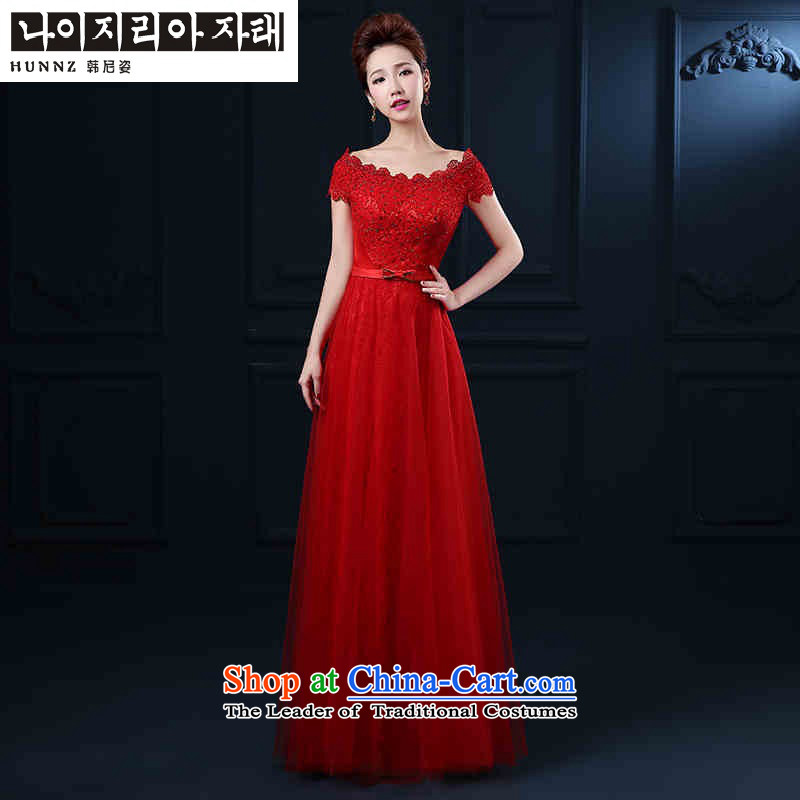 Hannizi      ?spring and summer new pure colors and stylish wedding dress a bride 2015 Field shoulder banquet evening dresses red long?S
