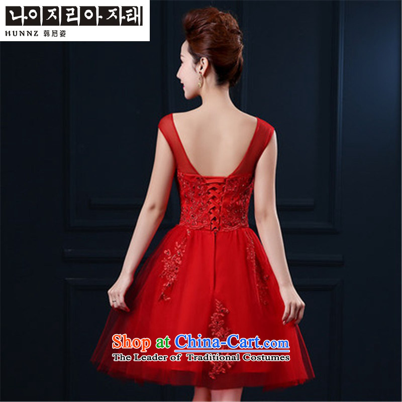 The spring and summer of 2015 New HANNIZI word, shoulder Korean style solid color red bridal dresses lace bridesmaid services red?S