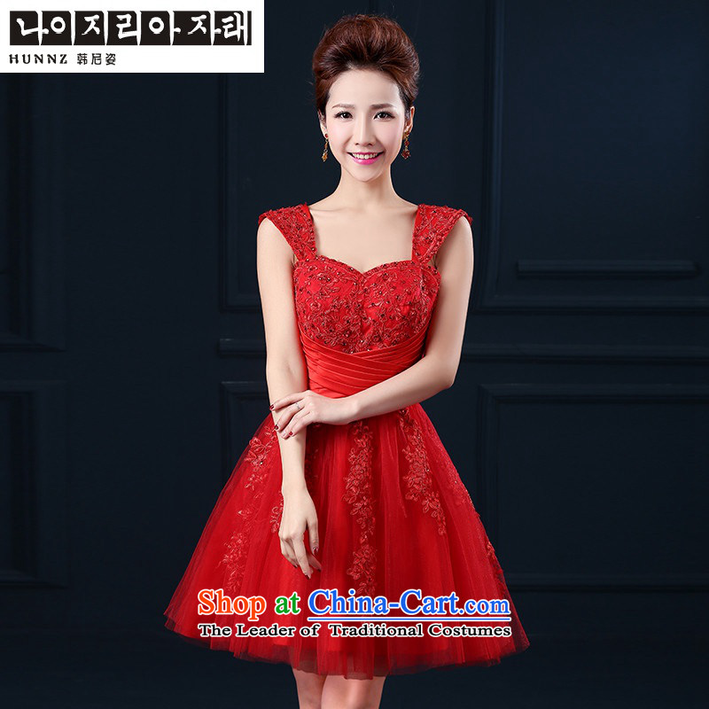 Hannizi       聽bridesmaid service bridal dresses Word 2015 shoulder straps, lace banquet evening dresses red聽S