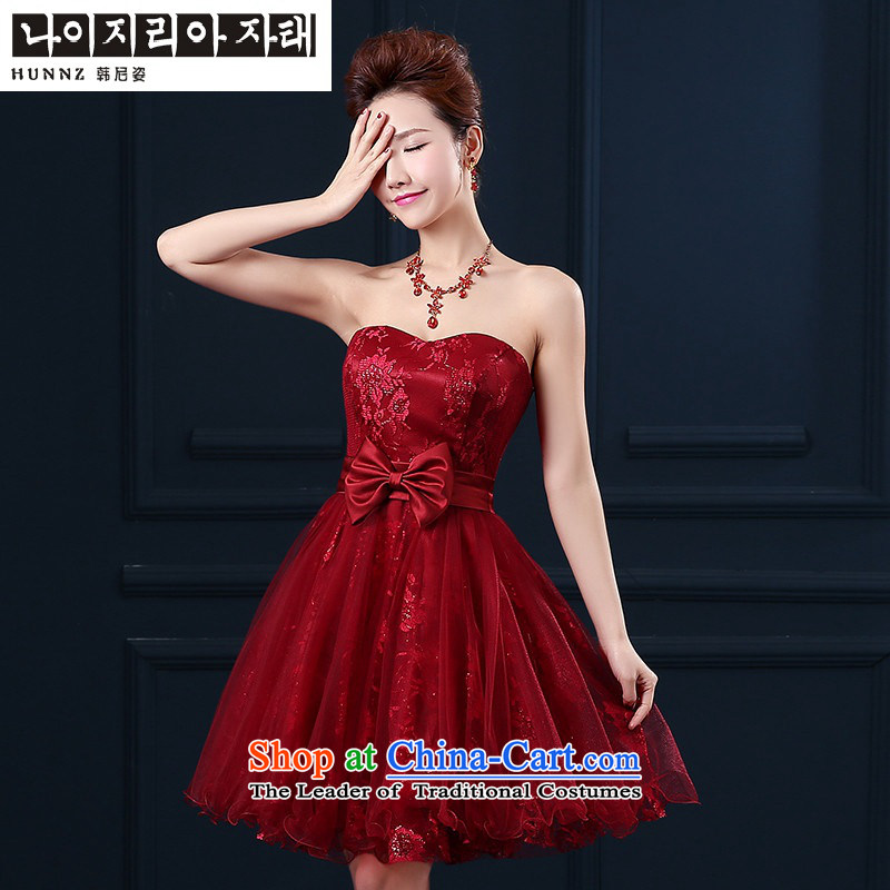 2015 Spring/Summer stylish HANNIZI new sweet anointed chest bride wedding dress banquet evening dresses wine red?L