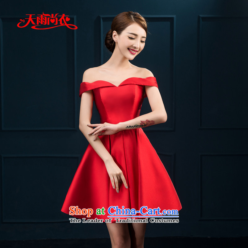 Rain-sang yi 2015 new marriages bows to Korean word shoulder larger short, thin blue dinner will be video dress bridesmaid dresses LF224 RED?M
