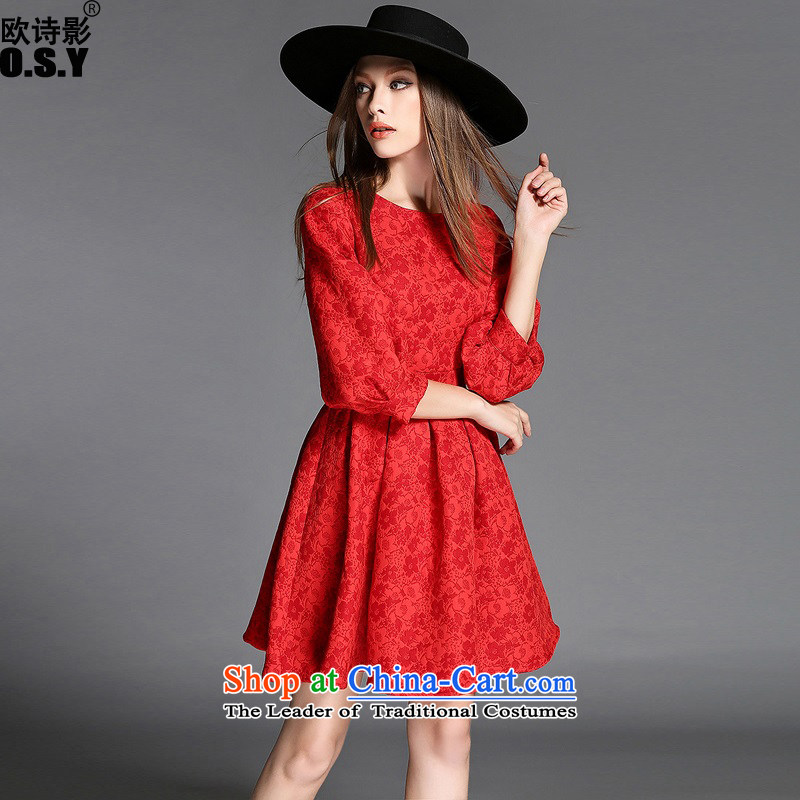 The OSCE Poetry Film 2015 autumn and winter new women's lantern cuff Jacquard Lace dresses red bon bon dress skirt bridesmaid bows services under the auspices of the lift mast mount married women red�L
