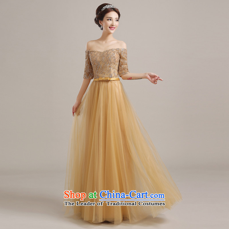The Syrian brides service time bows autumn and winter 2015 new booking the wedding-dress, bridal dresses gold long skirt marriage banquet dinner dress gold?M