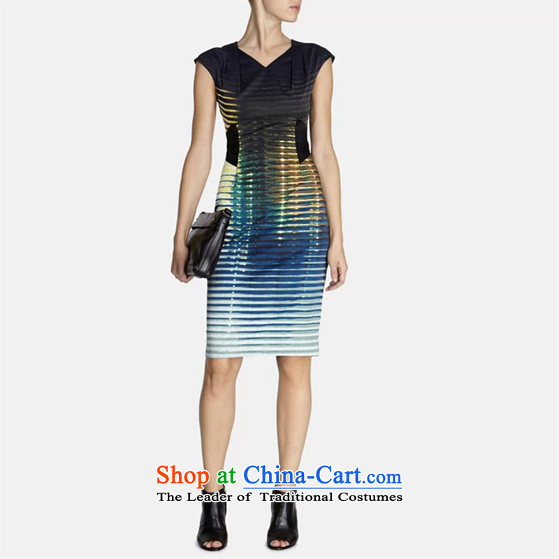 Web soft clothes spring 2015 new products elegant high-end OL gradient stripes stylish and sophisticated load banquet video thin V-Neck small dress map color?M