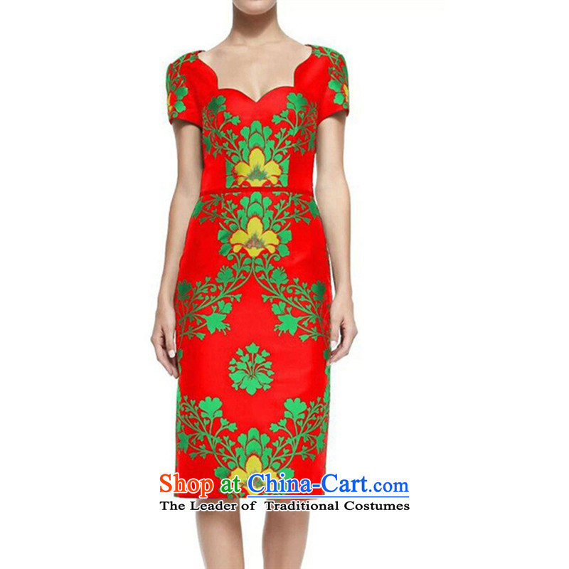 Web soft clothes spring 2015 new stamp elegance women aware of the high end of the atmospheric dresses small dress RED?M