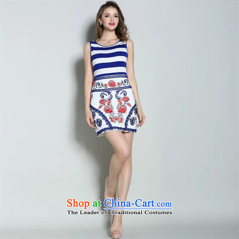 Web soft clothes 2015 Spring/Summer new sweet princess skirt streaks stitching high-end fashion embroidered dress small blue dress?S