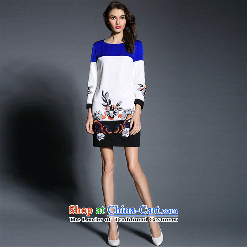 Web soft clothes high-end western 2015 Stamp does not rule, neat and poised. The plane collision Suits Small dress map color?L