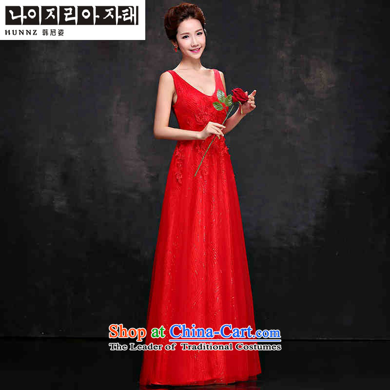 ?    ?Korean 2015 Red HANNIZI V-Neck bride wedding dress long banquet dinner dress uniform red?XXL toasting champagne