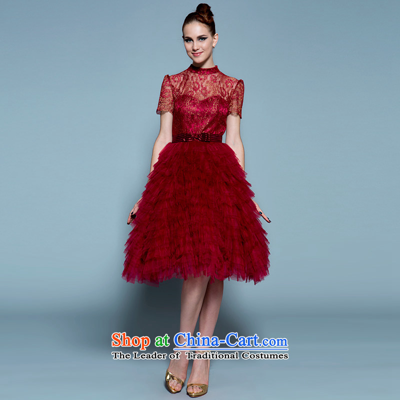 A lifetime of 2015 New short, Wedding Dress Top Loin red pregnant women small Korean dresses brides fall) bows services 20220677 wine red tie)?175/96A Edition 30-day pre-sale