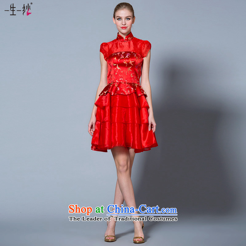 A lifetime of 2015 the new bride short high-lumbar bows to Chinese collar Korean pregnant women married cheongsam dress 40221054�170/92A red 30 days pre-sale