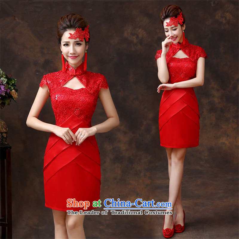 The new 2015 HANNIZI Stylish retro short spring and summer, red bride wedding dress Sau San evening dress red?L