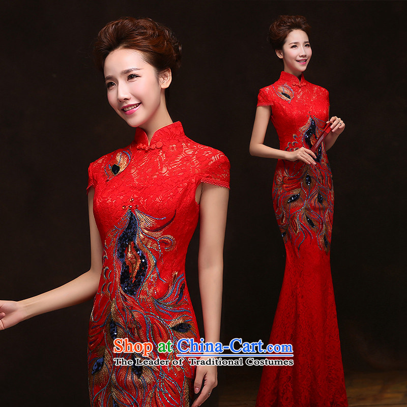 The spring and summer of 2015 New HANNIZI) Bride wedding dress retro floral long banquet dinner dress red�XL