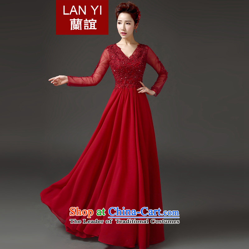 Lan-yi marriages bows frockcoat Korean Version to align the thin long-sleeved evening dresses banquet hosted dress autumn new products to contact customer service fee as the Supplement