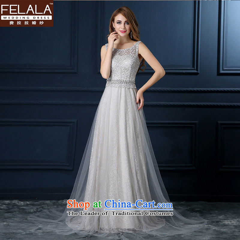 Ferrara?2015 new gray banquet evening dresses long shoulders lace bride bows services in summer and autumn moderator dress girls gray?XL