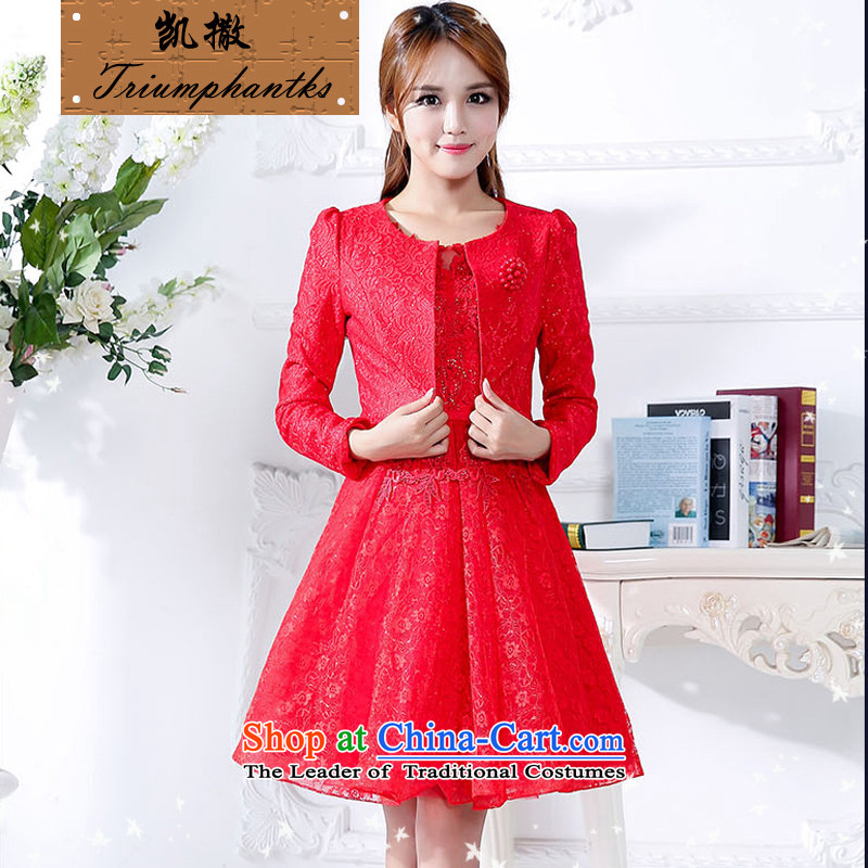1170?Fashion Sau San married TRIUMPHANTKS wedding short, Indian shawls dresses video thin bride bridesmaid evening dress bows services red?XL