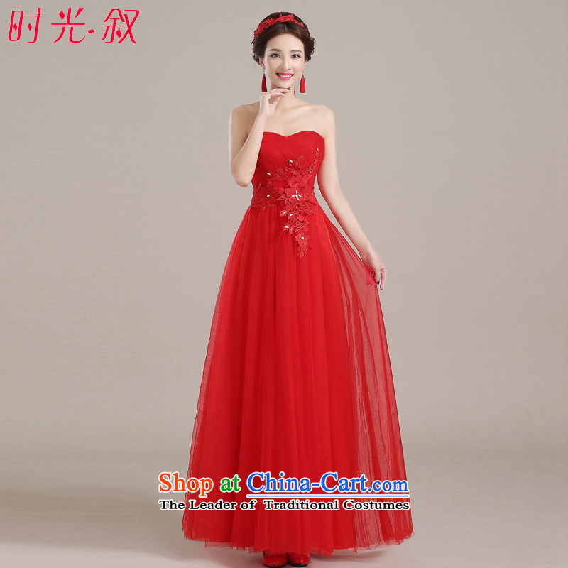 Time Syria of  autumn and winter 2015 new Korean anointed chest lace Sau San video thin bride wedding dress uniform red tie bows evening dresses long red XXL