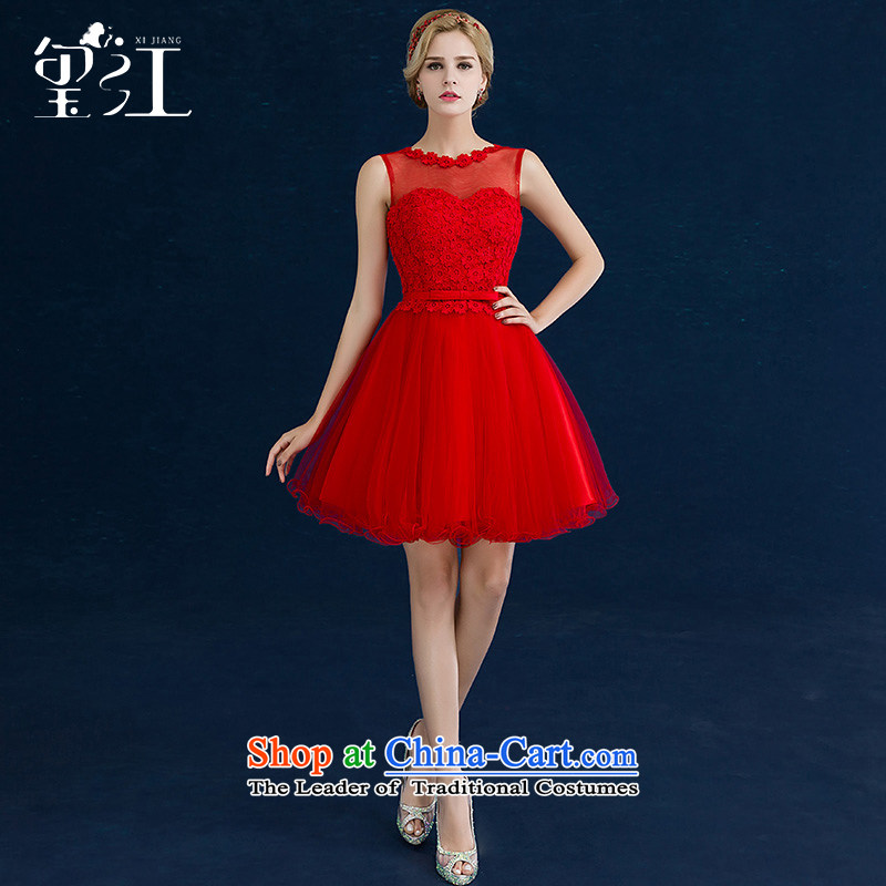 Jiang bride bows service seal 2015 new autumn and winter Korean word wedding dress Red Dress Short, banquet autumn female red A?XXL