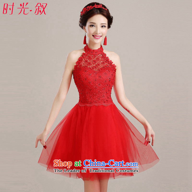 Time The� new bride Syria 2015 long drink service evening dress autumn and winter hang also small red dress skirt marriage bridesmaid service banquet female red short,�L