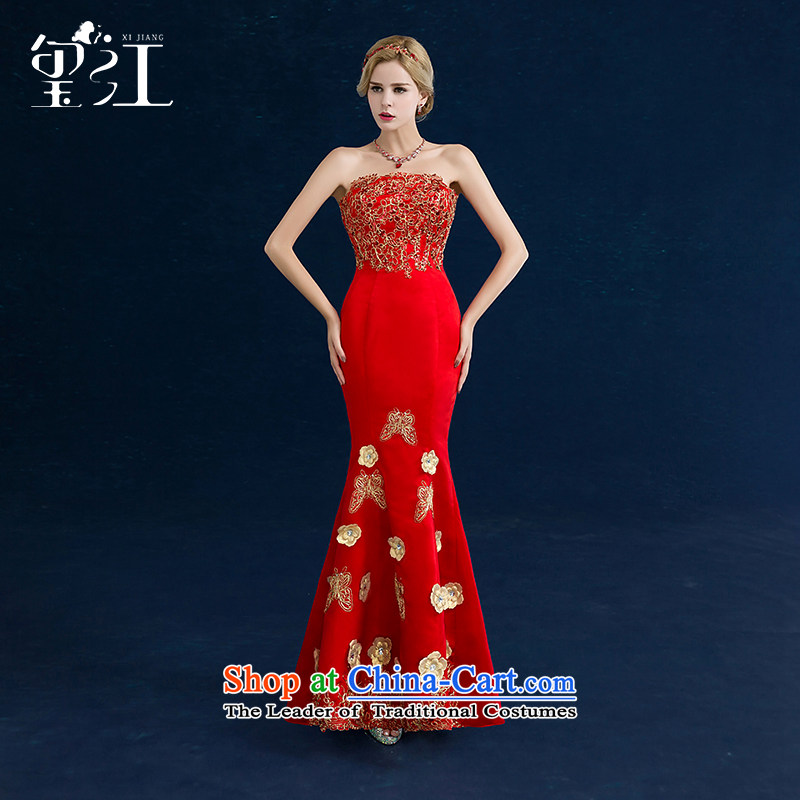 Jiang bride bows to seal a crowsfoot 2015 winter new wedding dresses wedding dress wiping the chest red long qipao autumn female red?S