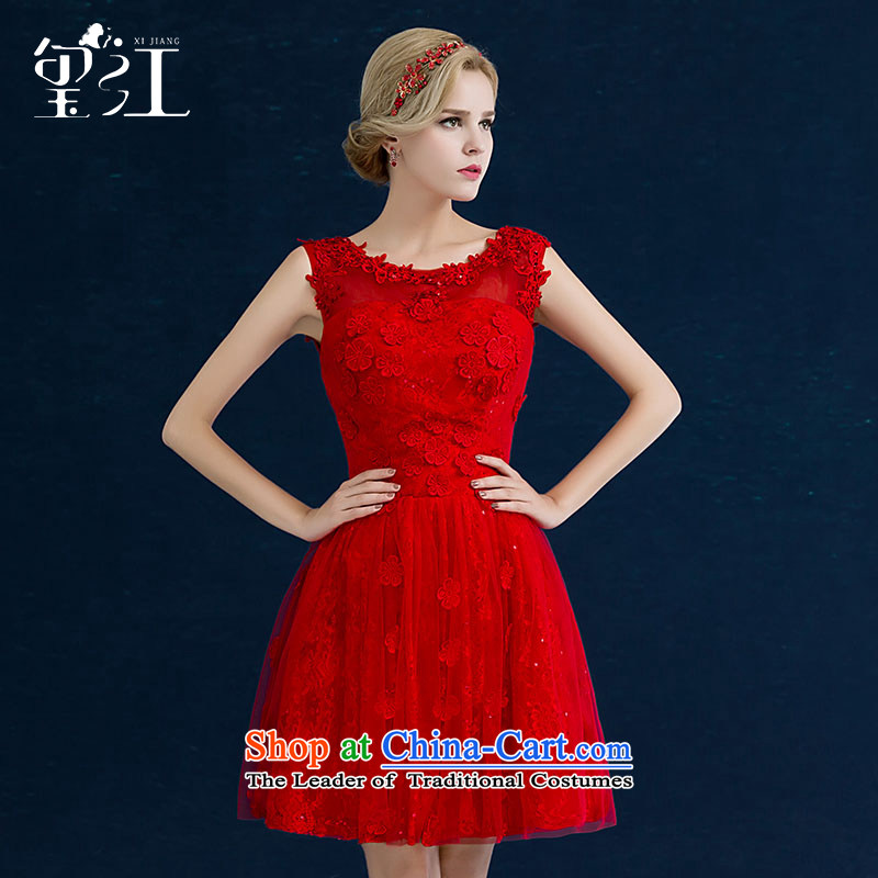 Seal the bride bows service Jiang, 2015 autumn and winter new stylish wedding dress red shoulders lace banquet evening dresses female red tailored