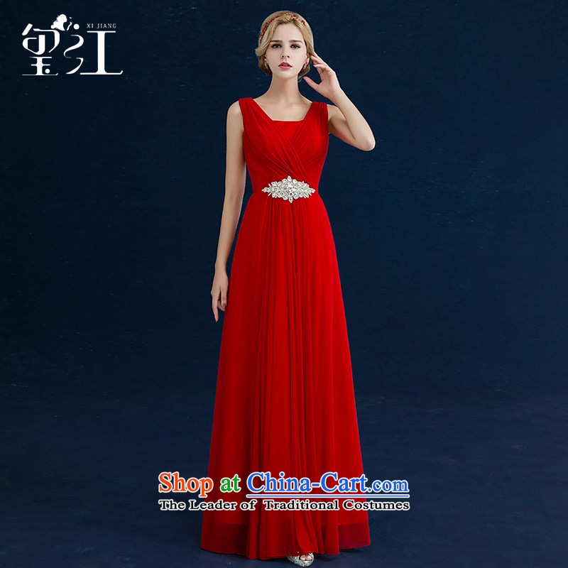 Seal the bride bows Chief Jiang, 2015 autumn and winter new wedding dress red stylish shoulders video thin red Female dress banquet tailored