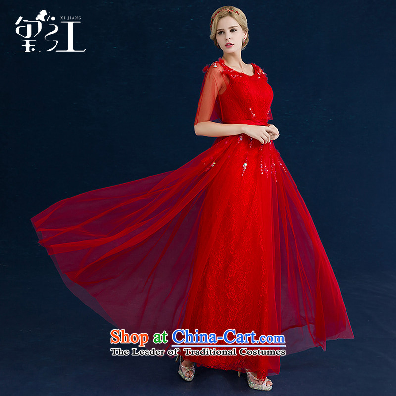 Seal the bride dress bows services Jiang 2015 autumn and winter Korean married shoulders of Sau San lace banquet evening dresses RED�M